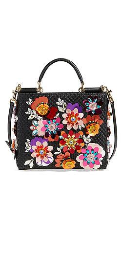 Dolce&Gabbana 'Mini Miss Sicily' Floral Appliqué Raffia Satchel
