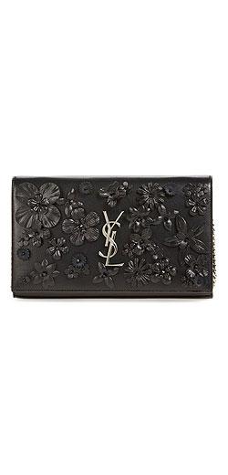 Saint Laurent 'Large Monogram' Floral Embellished Leather Wallet on a Chain