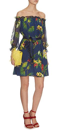ISOLDA Fru Fru off-the-shoulder tropical-print silk dress
