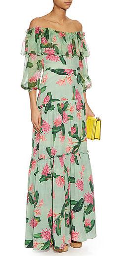 ISOLDA Off-the-shoudler floral-print silk dress