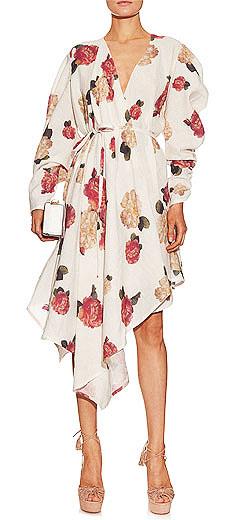 A.W.A.K.E. Floral-print wrap-front dress