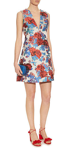 MARY KATRANTZOU Eridanus floral-jacquard V-neck dress