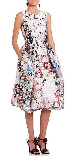 Oscar de la Renta Sleeveless Floral Jacquard Dress