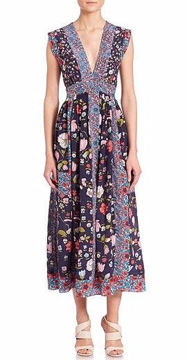 Rebecca Taylor Tap Floral Midi Dress