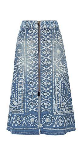SEA Printed denim midi skirt