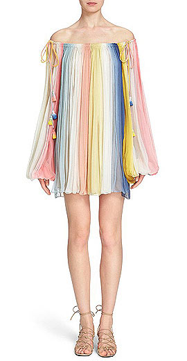Chloé Pleated Dip Dye Off the Shoulder Dress