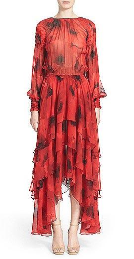 Michael Kors Poppy Print Tiered Silk Peasant Dress