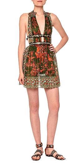 Valentino V-Neck Mini Dress W/Banded Waist