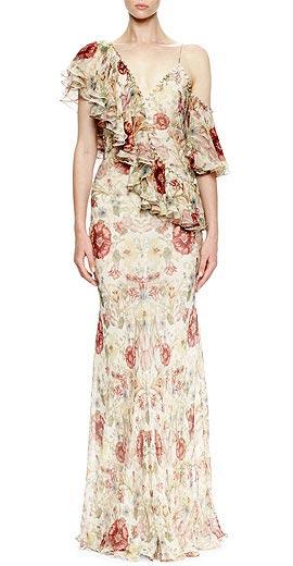 Alexander McQueen One-Shoulder Medieval-Floral Print Gown