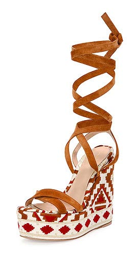 Gianvito Rossi Suede Geometric-Print Lace-Up Wedge Sandal