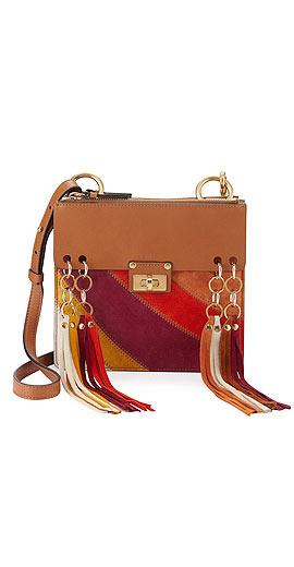 Chloe Jane Small Tassel-Trim Leather Crossbody Bag