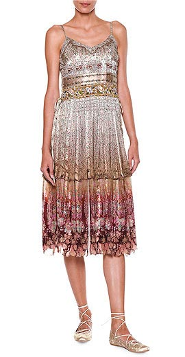 Etro Ruched-Bodice Tiered-Skirt Tank Dress