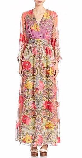 Etro Long-Sleeve Floral-Print Faux-Wrap Gown