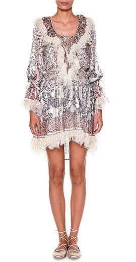 Etro Long-Sleeve Printed Dress W/Lace Trim