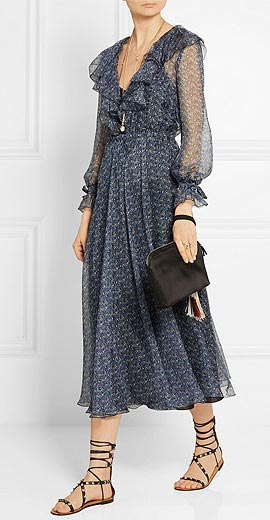 PHILOSOPHY Ruffled floral-print silk-chiffon dress
