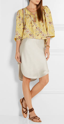 Isabel Marant Tyron embroidered printed silk top