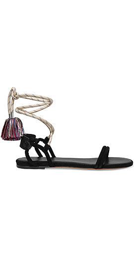 Isabel Marant Astrid tasseled leather-trimmed suede sandal