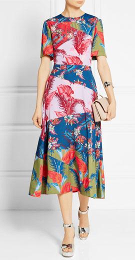House Of Holland Floral-print crepe de Chine dress