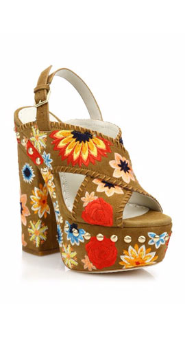 Alice and Olivia Giana Too Embroidered Suede Platform Slingback Sandals