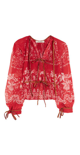 ETRO Jacquard-trimmed pleated floral-print chiffon blouse