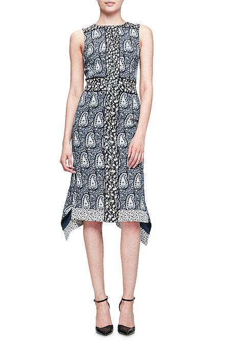Altuzarra Cassandra Sleeveless Mixed-Print Dress
