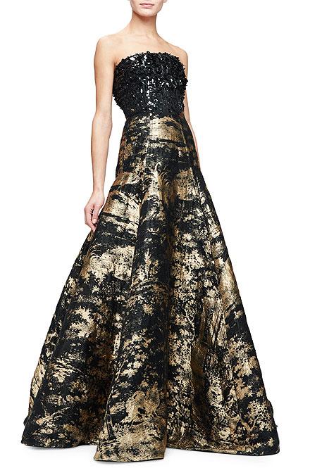 Oscar de la Renta Strapless Embellished-Bodice Metallic Gown