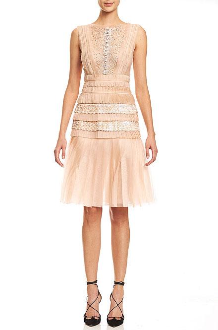 Carolina Herrera Sleeveless Bateau-Neck Embroidered Dress