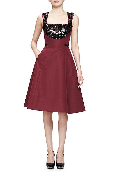 Oscar de la Renta Sleeveless Embellished Fit-&-Flare Dress