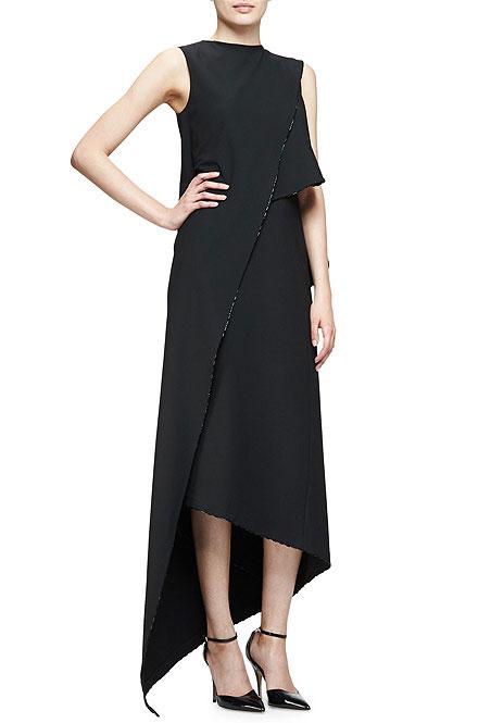 Zac Posen Sleeveless Asymmetric Midi Dress