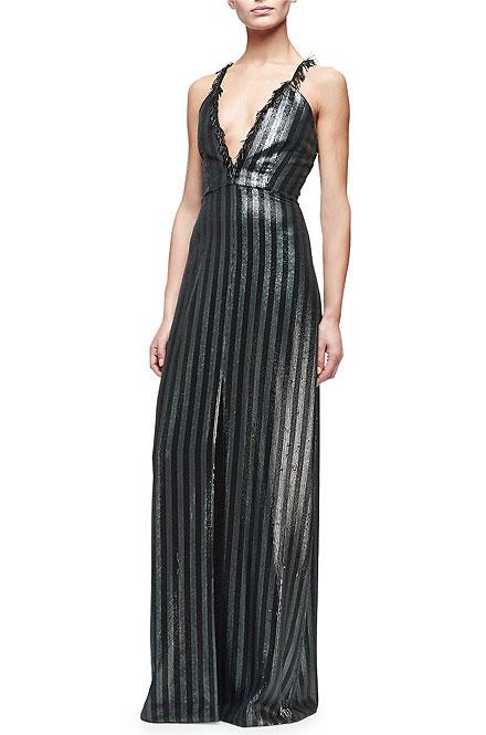 Cushnie et Ochs Evelyn Striped Gown W/ Center Slit