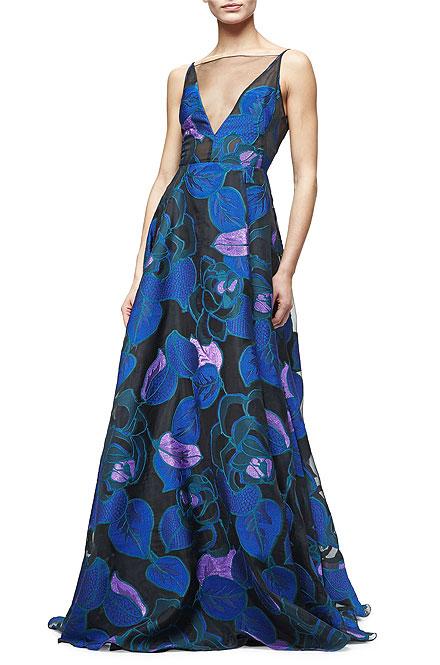 Lela Rose Sleeveless Leaf-Print Fil Coupe Gown