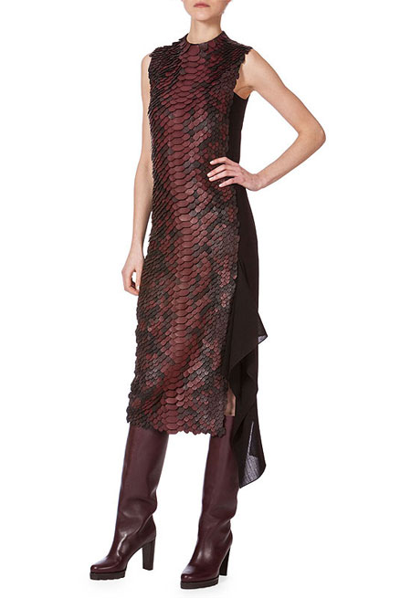 Akris Sleeveless Leather-Embellished Combo Dress