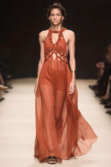 Alberta Ferreti Silk Crepon Maxi Dress