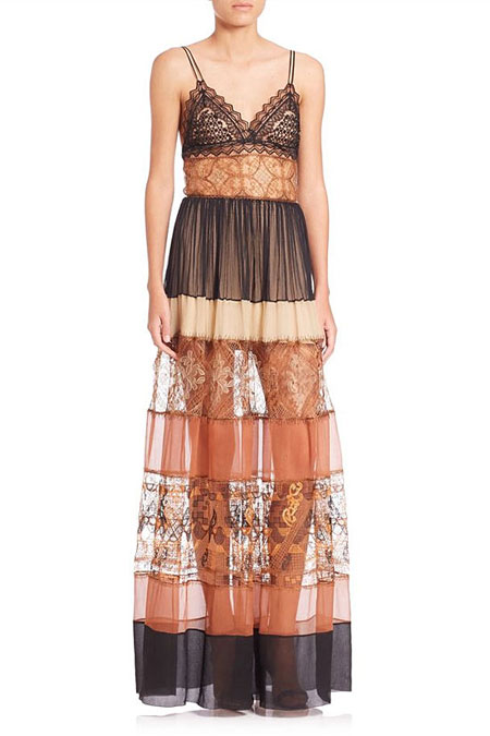 Alberta Ferretti Tiered Chiffon & Lace Gown