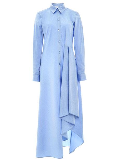 Long-Sleeve Drew Satin Shirtdress