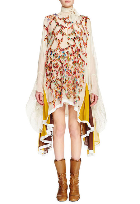 Chloe FW16 Tie-Neck Long-Sleeve Embroidered Dress