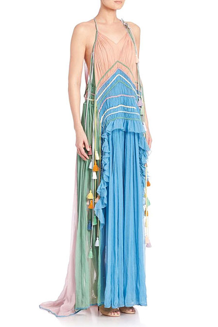 Chloé Ruffled Silk Rainbow Gown