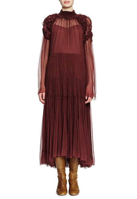 Chloe Long-Sleeve Ruched Tiered Maxi Dress