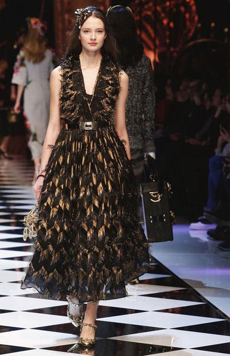 Dolce & Gabbana Metallic-Chevron Midi Dress W/Fringe