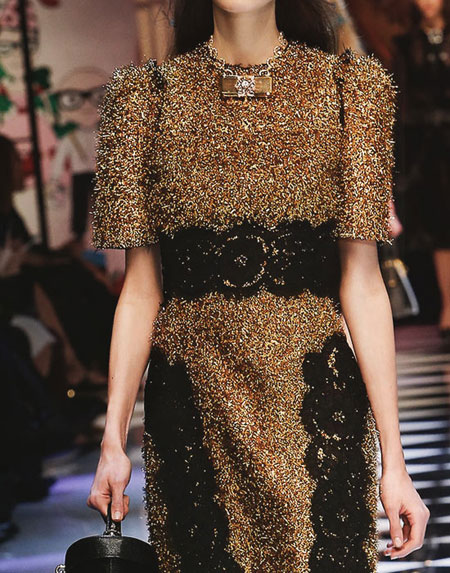 Dolce and Gabbana Short-Sleeve Metallic Dress with Lace Applique Details