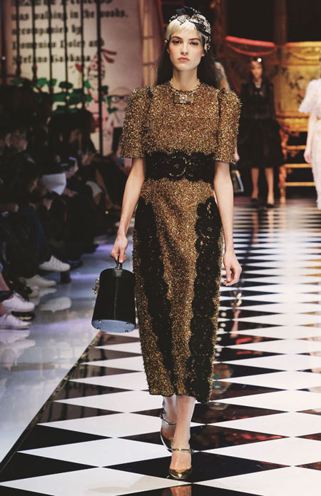 Dolce and Gabbana Short-Sleeve Metallic Dress with Lace Applique FW16 Runway