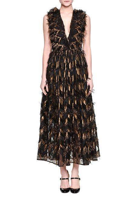 Dolce & Gabbana Metallic-Chevron Midi Dress