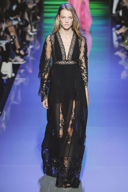 Elie Saab Lace-Paneled Chiffon Maxi Dress