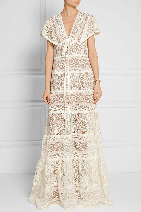 Elie Saab Tiered Lace Maxi Dress