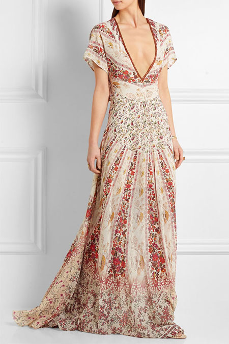 Etro Floral-Print Silk-Georgette Maxi Dress