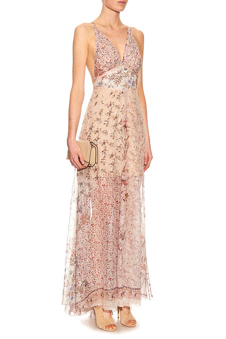 Etro Metallic Floral-Embellished Maxi Dress