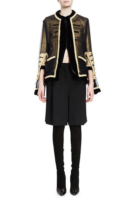 Givenchy 3/4-Sleeve Metallic Military Jacket