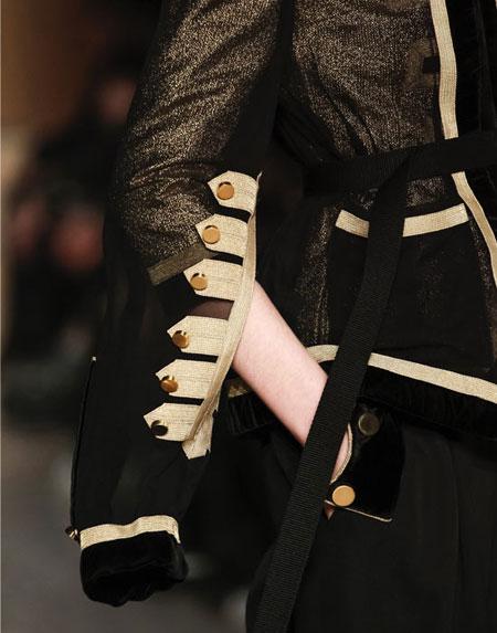 Givenchy 3/4-Sleeve Metallic Military Jacket Detail