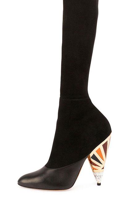 Suede Enamel-Heel Over-The-Knee Boot