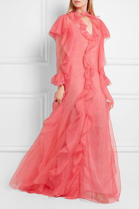 Gucci Ruffled Silk-Organza Maxi Dress